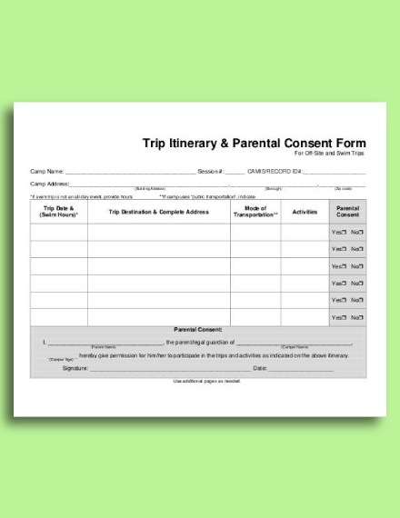 trip itinerary parental consent form