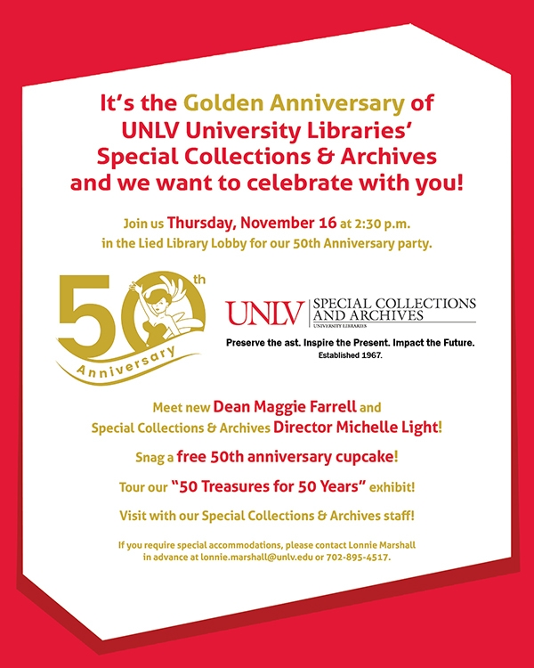unlv 50th anniversary party invitation