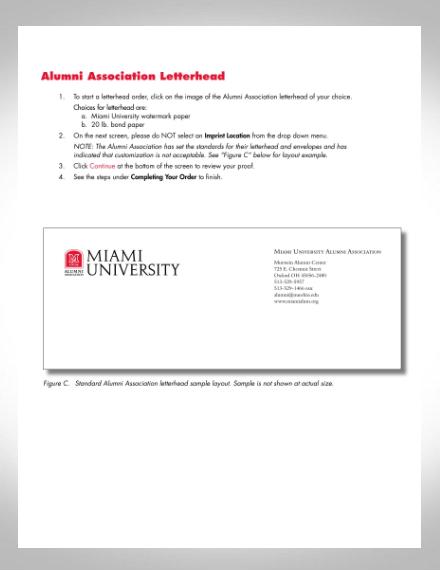 university alumni association letterhead