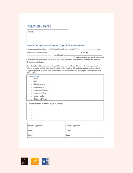 vehicle delivery note