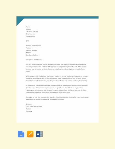 vendor termination letter template
