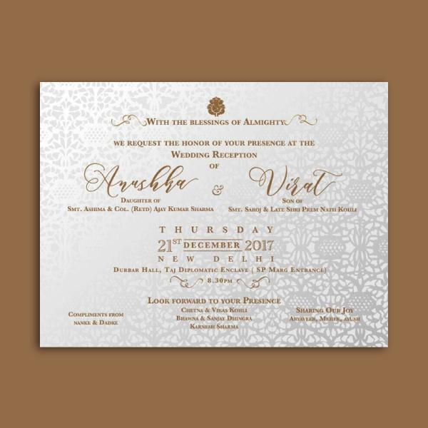 virat kohli anushka sharma's wedding reception card