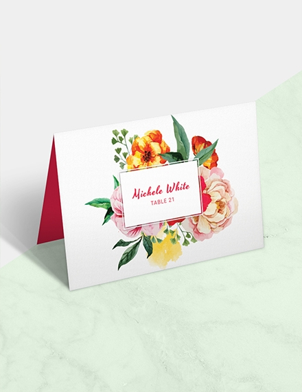 water color wedding place card