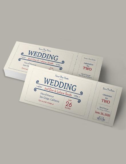 wedding admission ticket