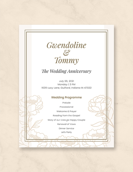 wedding anniversary program and invitation