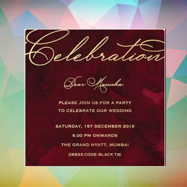 wedding celebration party invitation card