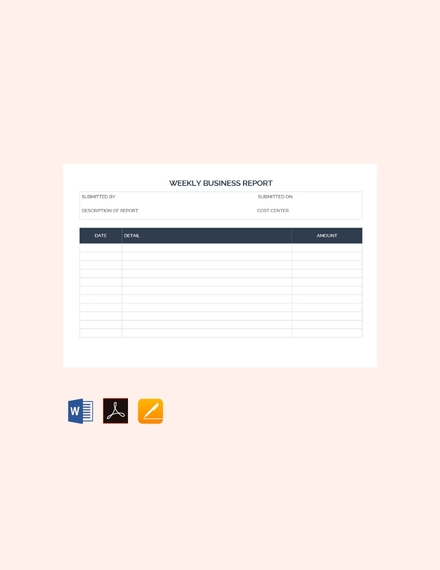 weekly business report template