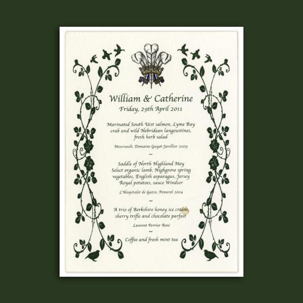 william and catherine wedding menu card