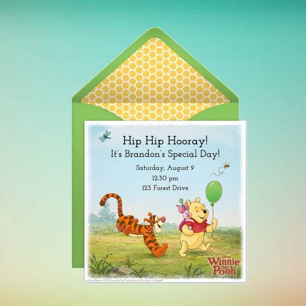 winnie the pooh party online birthday invitation