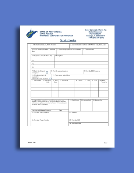 workers compensation program service invoice