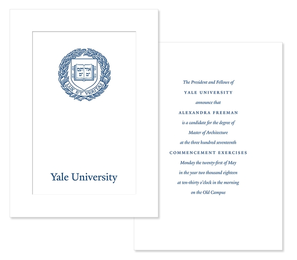 yale university graduation invitation example
