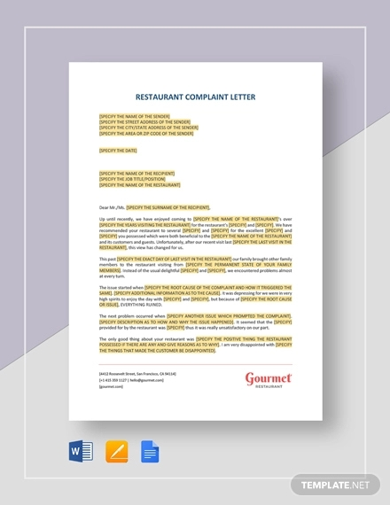 restaurant-complaint-letter Query Letter Templates Free on for formal, printable lowercase, job cover, printable resignation, sample reference, printable christmas, professional business, printable alphabet, printable fancy alphabet, great resume cover, editable cover,