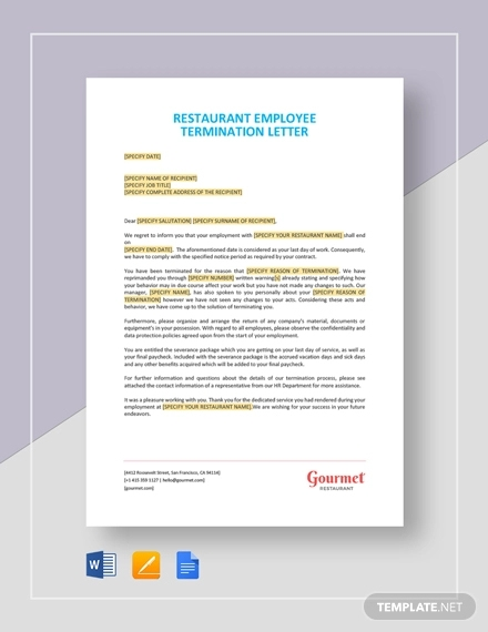 restaurant employee termination