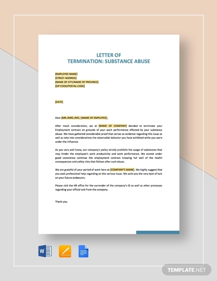 termination letter substance absue