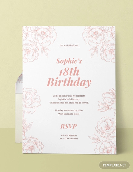 Prime Free 19 18Th Birthday Invitation Designs Examples In Word Psd Funny Birthday Cards Online Elaedamsfinfo
