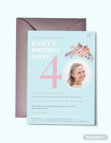 40th birthday invitation template