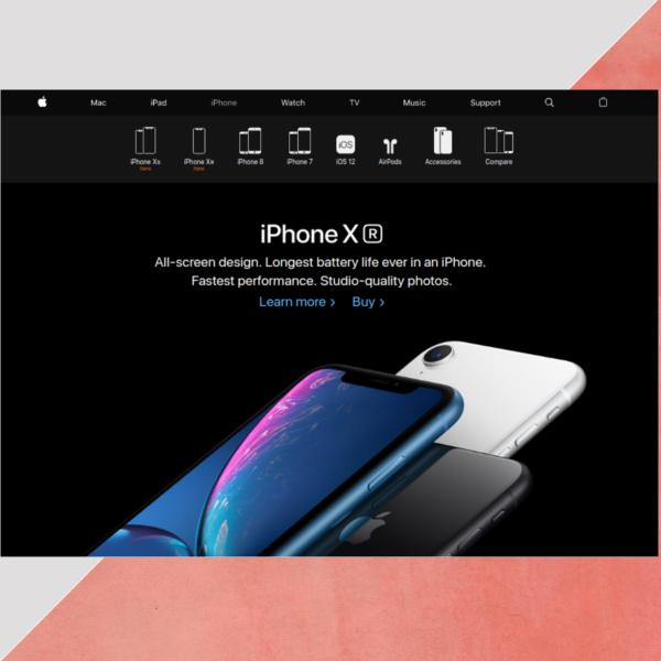 apple website header