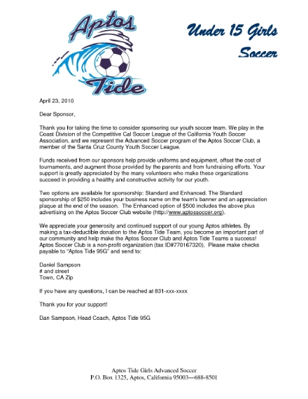 athletic sponsorship donation letter