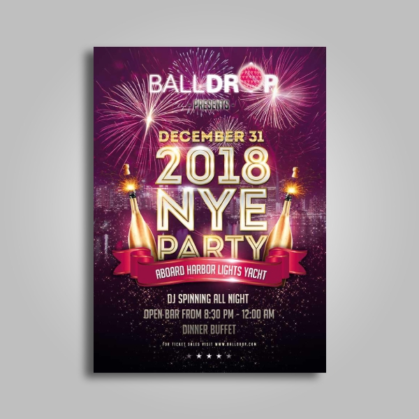 balldrop new years eve party poster