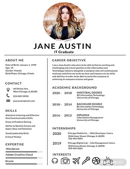 basic fresher resume design