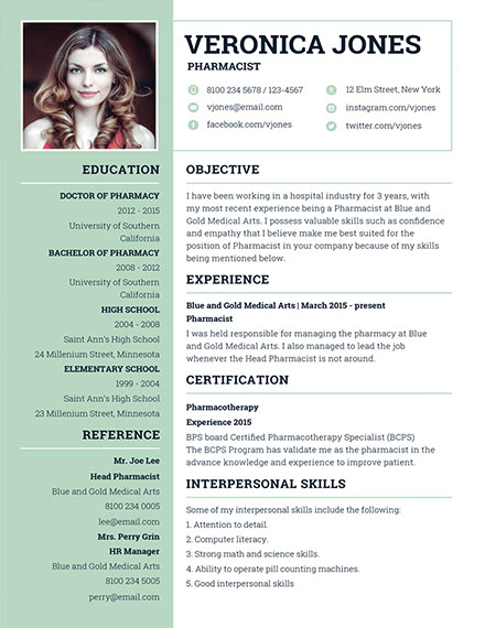 basic pharmacist resume