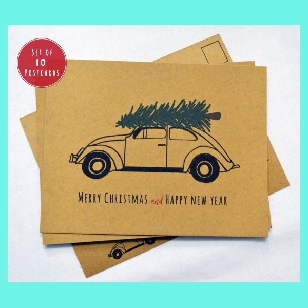 beetle christmas postcard