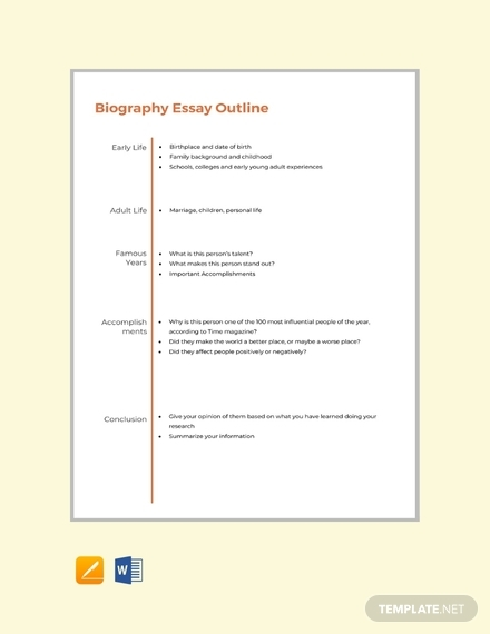 biography essay outline format