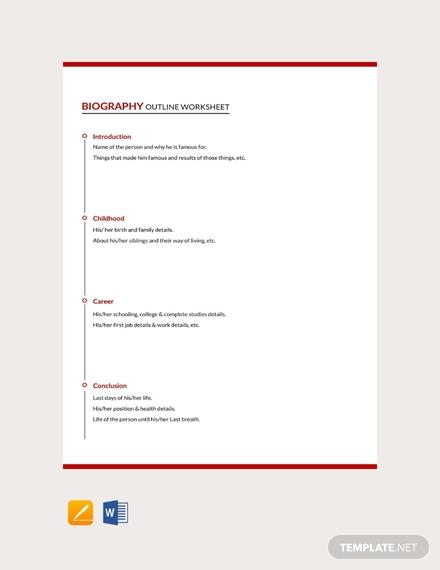 biography outline worksheet