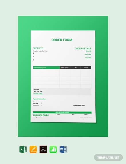 blank order form template