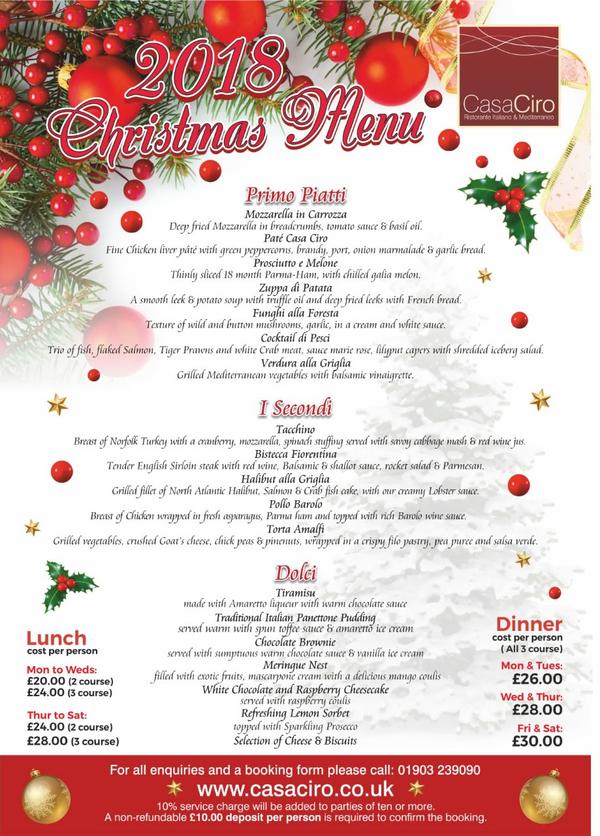 casa ciro christmas menu