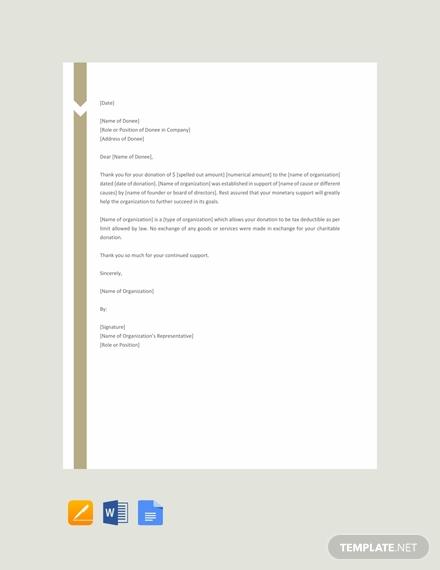 charitable donation letter