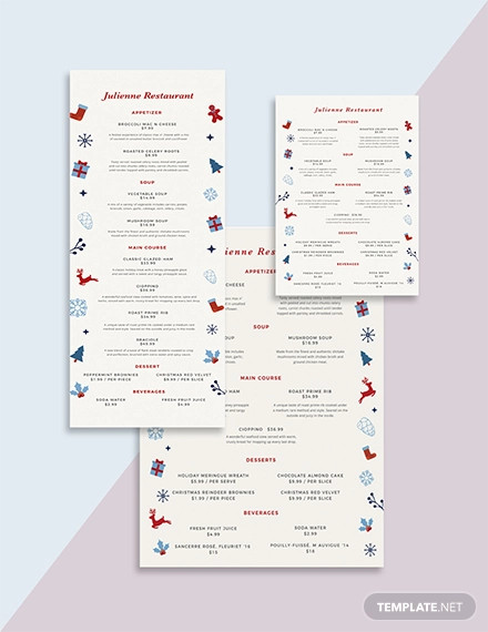 christmas dinner menu template