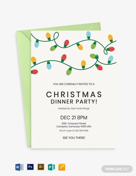 christmas dinner party invitation template