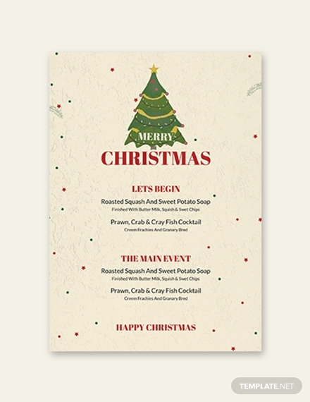 christmas drinks menu template