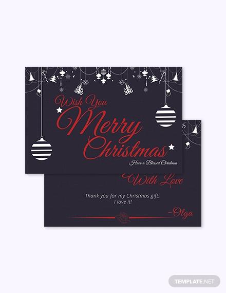 christmas gift thank you card