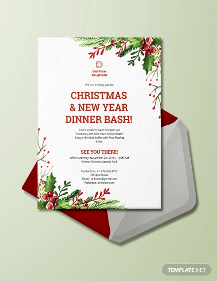 christmas new year dinner invitation