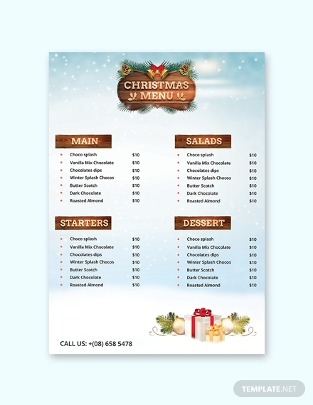 christmas party menu card design