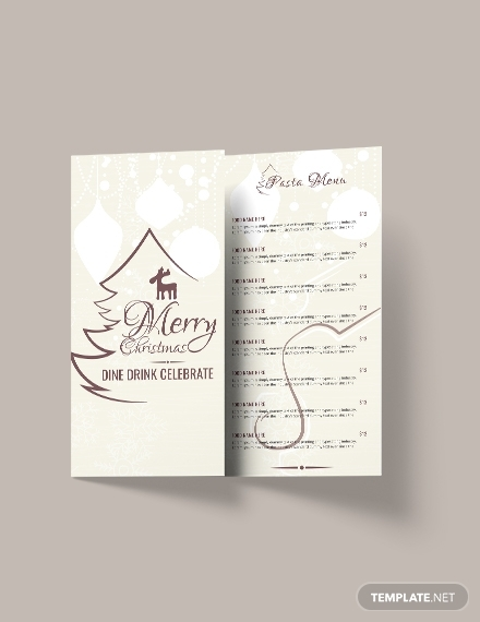 christmas restaurant menu brochure