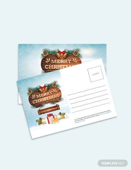 christmas thank you postcard design