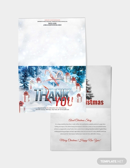 christmas and new year thank you card