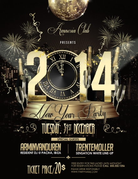 club new year party poster