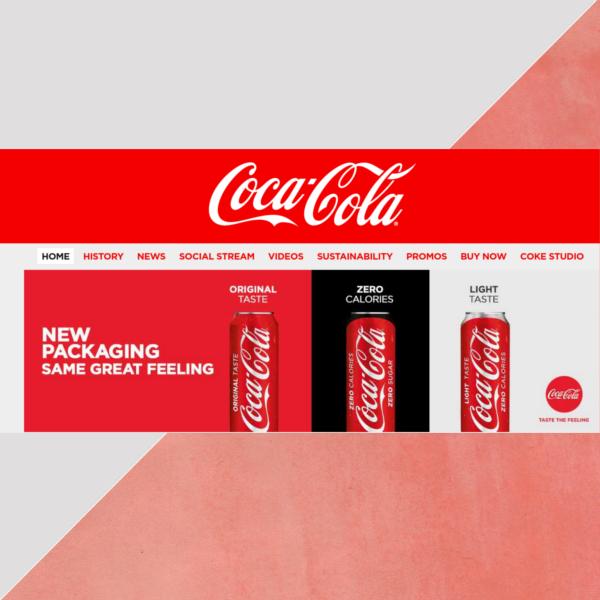 coca cola website header