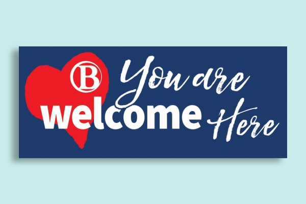 college campus welcome sign