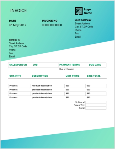 color themed invoice template