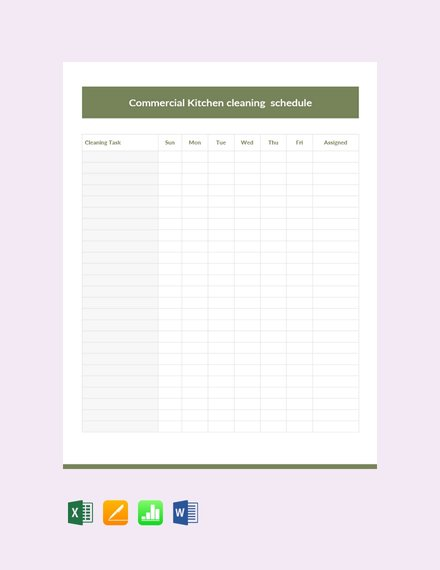 commercial kitchen cleaning schedule