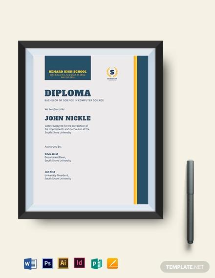 computer diploma certificate template