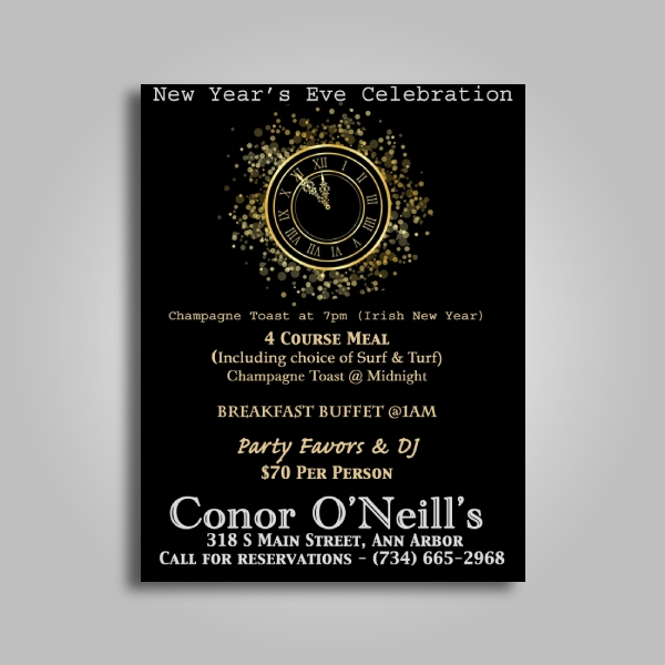conor oneills restaurant new year poster