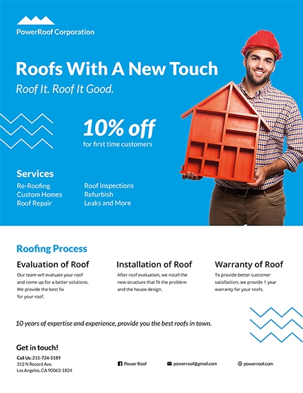 construction company roofing flyer
