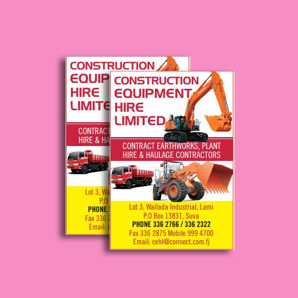 construction equipment company flyer