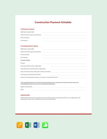 construction payment schedule template